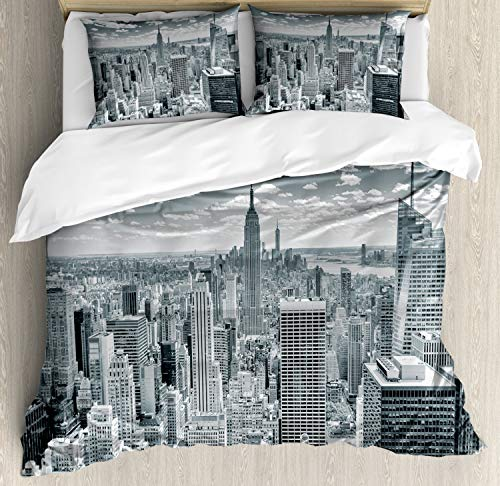Ambesonne New York Duvet Cover Set, NYC Over Manhattan from Top of Skyscrapers Urban Global Culture Artful City Skyline Panorama, A Decorative 3 Piece Bedding Set with Pillow Shams, Queen/Full, Grey
