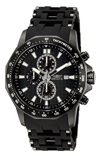 Invicta Men's 1933 Sea Spider Chronograph Black Dial Black Polyurethane Watch