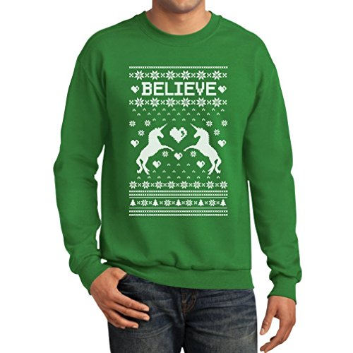 Dominily Mens Believe in Unicorns - Magical Ugly Christmas Sweater Sweatshirt Green XX-Large
