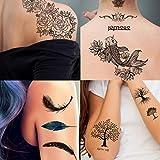Supperb 4 Sheets Temporary Tattoos Nature Spirit Set - Rose Lotus Feathers Trees Koi Fish Tattoos