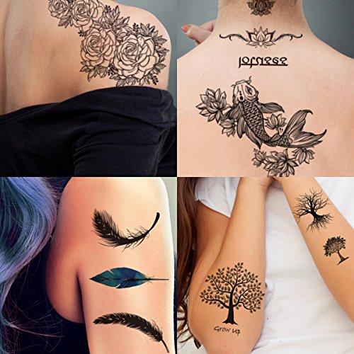 The Halloween Tree Tattoo (Supperb 4 Sheets Temporary Tattoos Nature Spirit Set - Rose Lotus Feathers Trees Koi Fish)