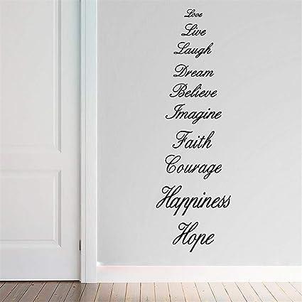 Amour Vivre Laire Rever Croire Imaginer Foi Courage Bonheur Espoir Anglais Proverbe Citation Murale Decalque Autocollant Mots Decoration Murale Amazon Fr Bricolage
