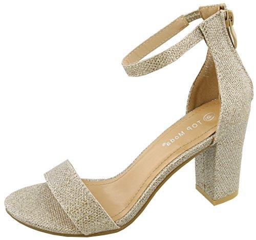 TOP Moda Women's Hannah-1 Ankle Strap High Heel Sandal (Champagne, 7 M US)