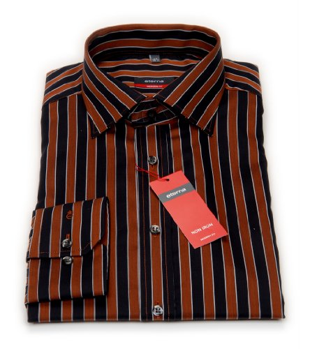 Eterna chemise style moderne noir/marron rayé/187/4175.27. x short de bain pour homme