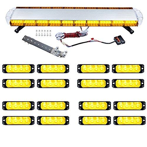 Combo AMBER 1pc 47 inch 88-LED 15 Flashing Modes 88W + 16pcs Ultra Slim 4-LED SYNC Strobe Emergency Car Truck Warning Hazard Construction Traffic Advisor Light Bar