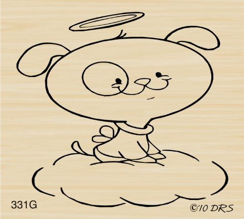 Dog Angel Rubber Stamp By DRS Designs
