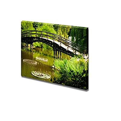 Canvas Prints Wall Art - Japanese Garden Bridge| Modern Home Deoration/Wall Art Giclee Printing Wrapped Canvas Art Ready to Hang - 24