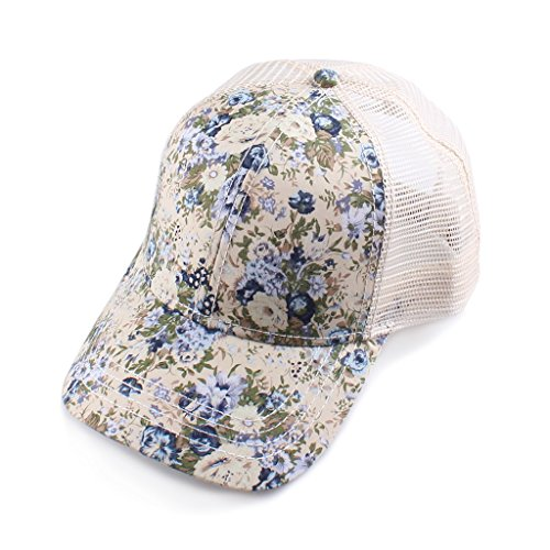 H-6140-100660 Floral Print Trucker Hat - Small Flowers (Beige)