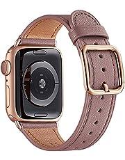 Mnbvcxz Horlogebanden, compatibel met Apple Watch, 38 mm 40 mm 42 mm 44 mm, top graan lederen band, vervangende riem, meerdere kleuren voor iWatch Series 5/4/3/2/1, uniek design
