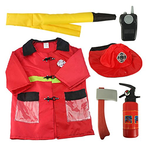 Fire Chief Kids Costumes (TopTie Child Firefighter Costumes, Fire Chief Role Play Costume Set RED-S)