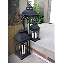 Set of 3 Indoor or Outdoor Metal Lanterns - Black