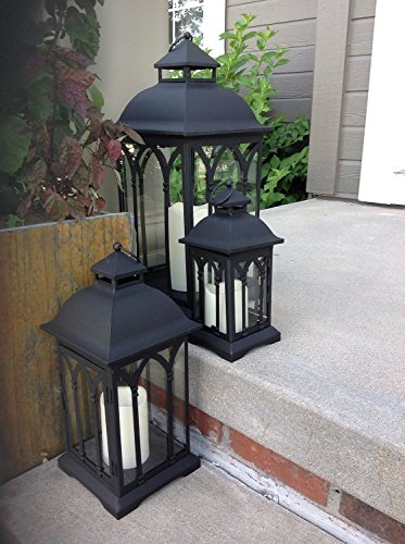 Set of 3 Indoor or Outdoor Metal Lanterns - Black -
