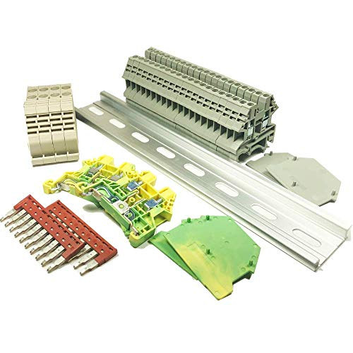 Dinkle UL Gray DIN Rail Terminal Block Kit 20 DK2.5N 12 AWG Gauge 20A 600V Ground DK4N-PE Jumper DSS2.5N-10P End Covers End Brackets Grey