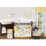 Sweet Jojo Designs Honey Bumble Bee Hive Yellow, Gray and White Unisex 9pc Baby Girl or Boy Crib Bedding Set