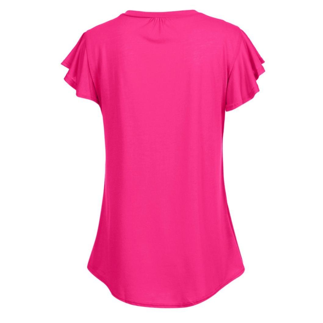 Tamaño Grande Blusa Mujer, Covermason Camiseta sin Mangas Irregular, Volante de Manga Corta para Mujer: Amazon.es: Ropa y accesorios