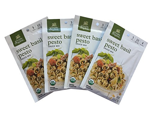 Simply Organic | Sweet Basil Pesto Sauce Mix | .53oz (Pack of 4) (Organic Pesto)