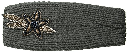 David & Young Women's Solid Headwrap with Flower Applique, Dark Grey, One Size
