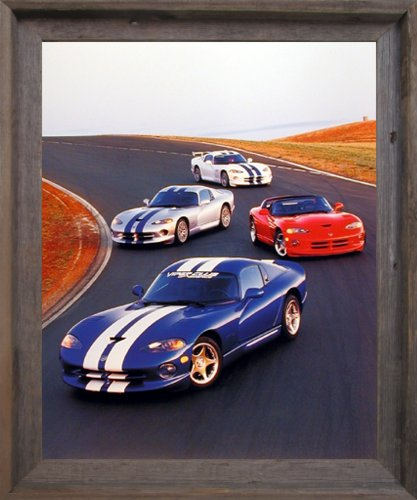 Impact Posters Gallery Dodge Vipers Framed Wall Decor Sports Car on Track Racing Classic Barnwood Picture Art Print (19x23) ()