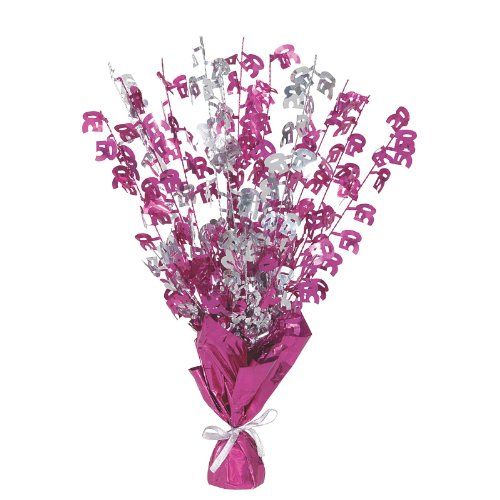 """16"""" Happy 50th Birthday Pink Sparkle Foil Weight Table Centerpiece"""