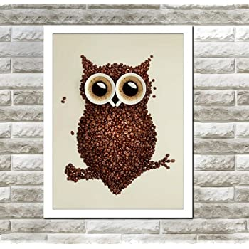 amazon com spirit up art owl with coffee beans photography poster