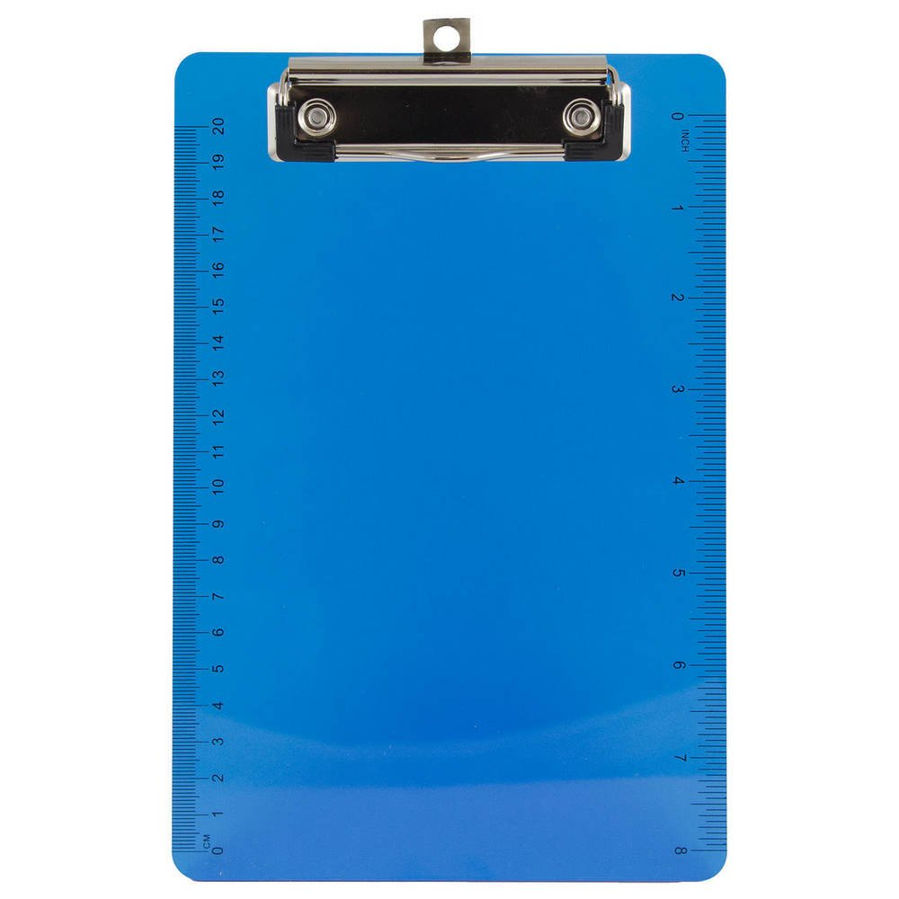 JAM Paper Plastic Clipboards with Low Profile Metal Clip - Small (6'' x 9'') - Blue - 12/pack