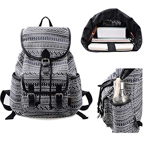 MoreChic Women Girls Floral Print Casual Canvas Backpack Rucksack Cute School Backpack(Stripe)