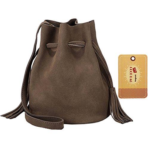 Brown Crossbody Suede Bag Drawstring Women Tassel Boutique Bag Color Goodbag Solid Bucket THwUP