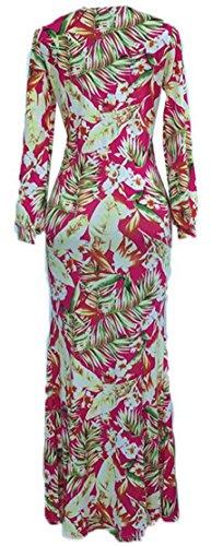 V Fall Sleeve Neck Womens Split Bodycon Dress Cromoncent Printed Long Red PqW4n5X