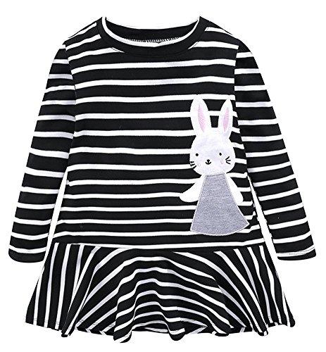 BomDeals Cute Toddler Girl Bunny Stripe Dress, Adorable Kids Sweet Shirt Top and Skirt Patchwork Dress(Black,140)