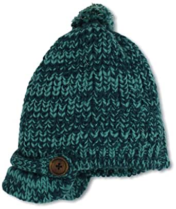 collection eighteen Women's Marled Feather Pom Cabbie Cold Weather Hat, Indian Green, One Size