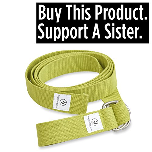 THE Yoga Strap 8 Foot, Best Band for Stretching, Flexibility, Physical Therapy, Balance, Pilates, Exercise Fitness Workout, Premium Soft Cotton with Cinch Metal D Ring Belt Buckle Loops, Extra Long Harness Props Equipment - 100% Guaranteed.