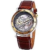 JARAGAR Luxury Golden Bridge Roman Dial Men's Automatic Mechanical Wrist Watch Transparent Movement Genuine Leather + Gift Box