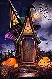 OFILA Vinyl Photography Backdrop 3x5ft Halloween Theme Bat Magic House Pumpkin Laterns Children Baby Kids Portrait Photos Props Shooting Video Studio