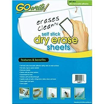 GoWrite! PACASB8511 Self-Adhesive Dry Erase Sheets, White, 8-1/2