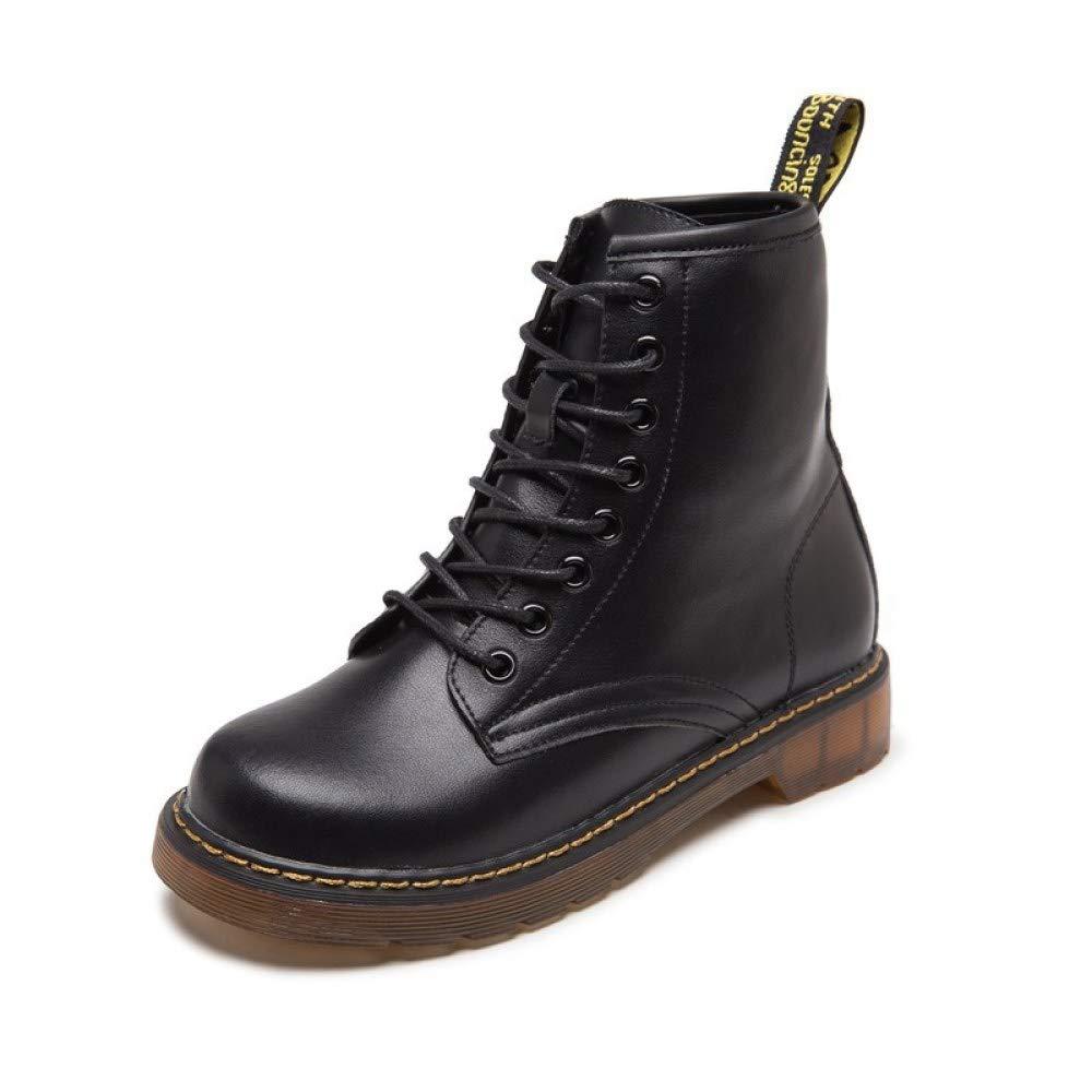 XINGF Martinstiefel Für Herren, Schwarze Britische Retro-Lederstiefel, Modische Trendstiefel, Rutschfeste Warme Schuhe Für Herbst Und Winter