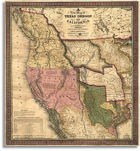 New Map Of Texas.A New Map Of Texas Oregon And California With The Regions Adjoining 1846