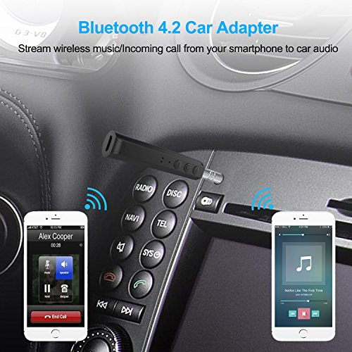 Bluetooth Adapter for Headphones, GULAKI Bluetooth Audio Receiver 3.5mm for Car Stereo AUX Home Stereo Wired Headphones Black (Portable Bluetooth Receiver)