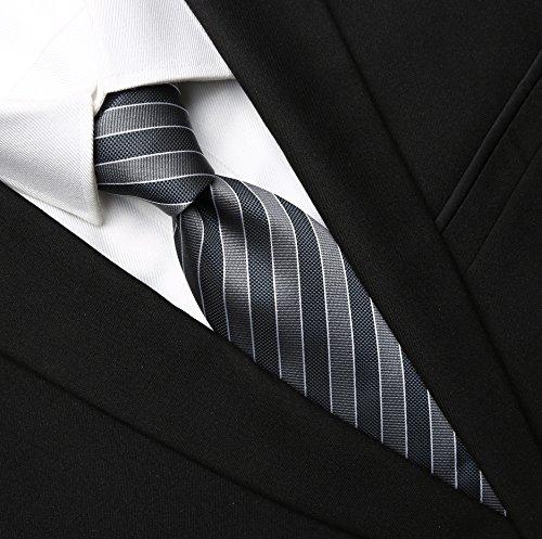KissTies Men's Striped Tie Extra Long Necktie Wedding Party Gift (63'' XL),Grey (Extra Long Ties)