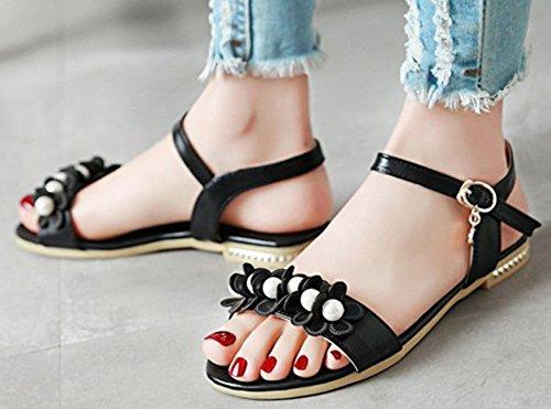 Flowers Aisun Pearl Sandals Strap Black Ankle Flat Comfy Women's qqE7xnrwOS