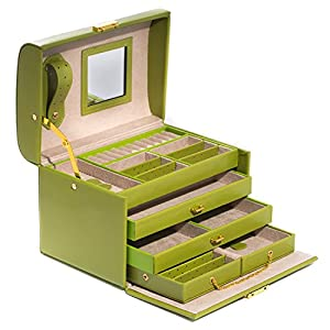 Time Factory AJ-BB529LIM 4 Level Hinged Lime Leather Jewelry Box, Lime Green