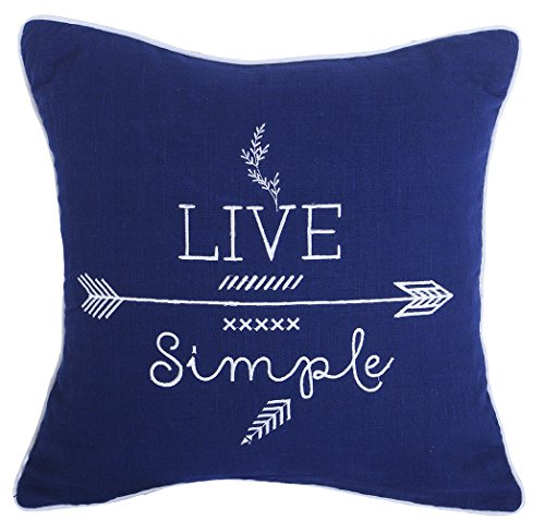"YugTex Pillowcases Live Simple Embroidered Throw Pillow cover for home decor ornament decoration housewares hipster arrows typographic Gifts Cushion covers (18""x18"", Live Simple-Navy)"