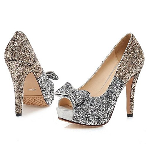 1c6d49dc COOLCEPT Mujer Moda Sin Cordones Tacon de Aguja Bombas Zapatos Peep Toe  Shiny Sandalias With Bowknot ...