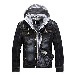 DSDZ Men's Winter Fleece Lined Denim Jackets Warm Jeans Coat with Removable Hood