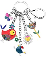 Bonsny Enamel Zinc Alloy Birds Flower Butterfly Key Chains Keyrings For Women Handbag Car Key Charms (Multicoloured)
