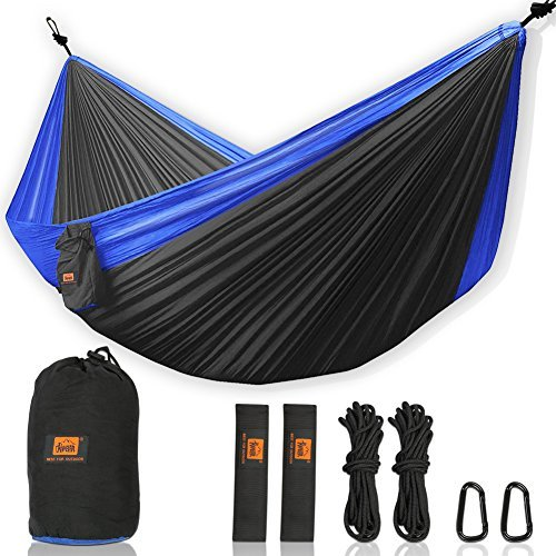 Walbest Double Camping Hammock, Portable Parachute Double Two Person Hammock with 2 X Hanging Tree Straps, Lightweight Nylon Hammock for Backpacking, Camping, Hiking, Beach, 500lbs