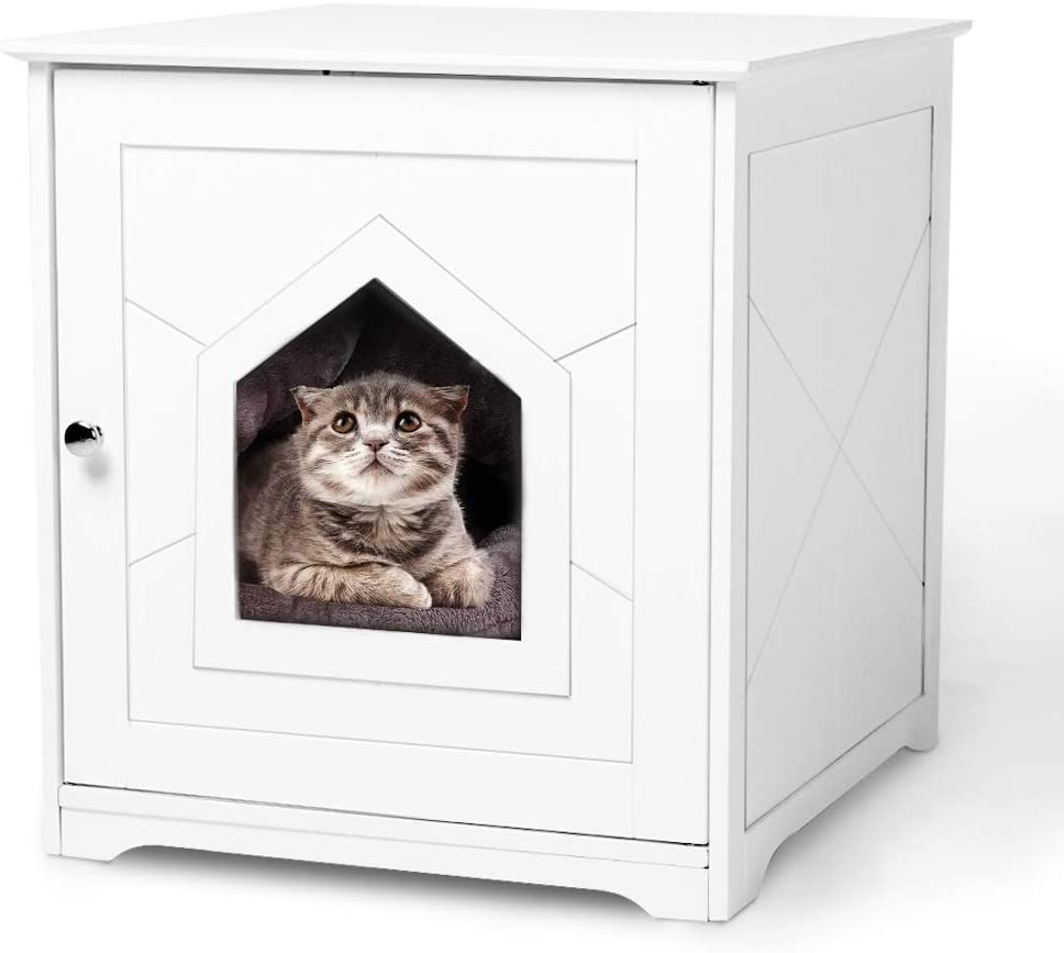 BANIROMAY Decorative Cat House Side Table, Enclosed Cat Litter Box Enclosure Furniture with Vents, Wooden Cat Home Nightstand Kitty Washroom for Indoor Living Room, Bedroom