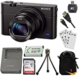 Sony DSC-RX100M III Cyber-shot Digital Still Camera Bundle with 64GB Card, Spare Battery, Rapid AC/DC Charger, SD Card Reader, Case, LCD Screen Protectors, and Table top Tripod