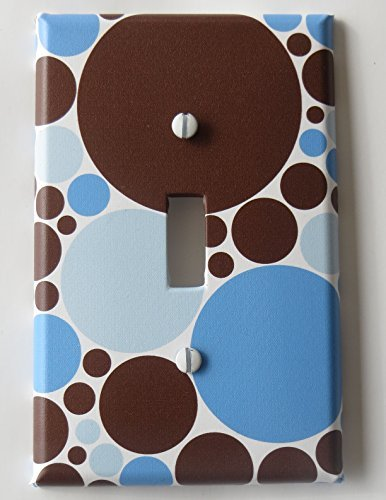 Blue and Brown Polka Dot Light Switch Plate Covers / Single Toggle /