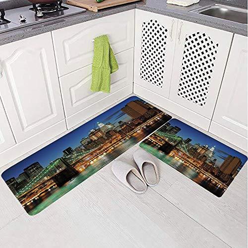 - 2 Piece Non-Slip Kitchen Mat Rug Set Doormat 3D Print,Brooklyn Bridge Skyscrapers Famous Metropolis,Bedroom Living Room Coffee Table Household Skin Care Carpet Window Mat,