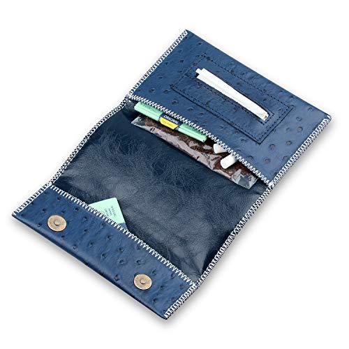 Kosibate Genuine Leather Hookah Cigarette Tobacco Pouch Case Wallet Rolling Tip Paper Holder Slot CL42 (Blue)